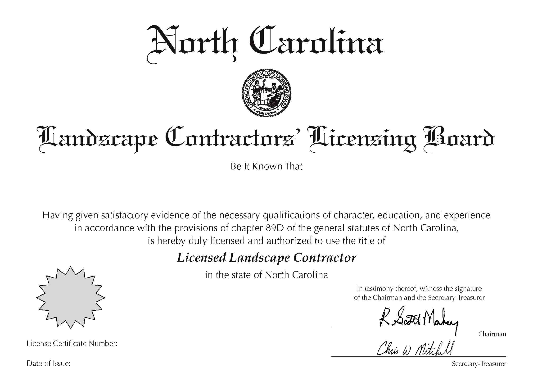 Nc Sales Tax 2017 >> Decal and Wall Certificate Order Form | NC Landscape Contractors' Licensing Board